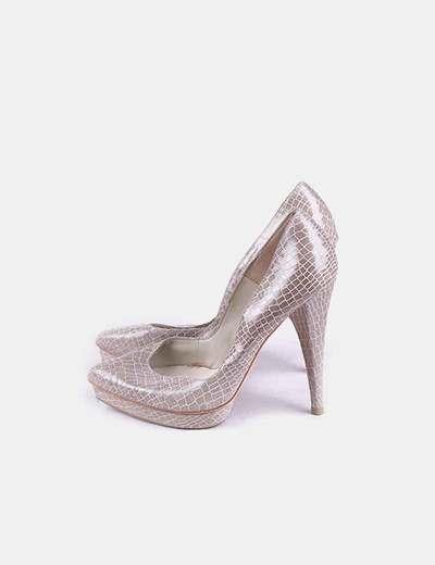 Zapatos pump gris texturizado
