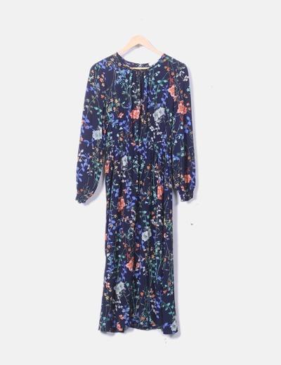 Vestido midi floral azul marino