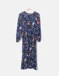 Vestido midi floral azul marino lm