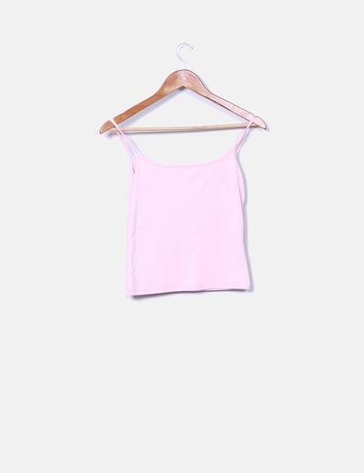 Camiseta rosa palo de tirantes