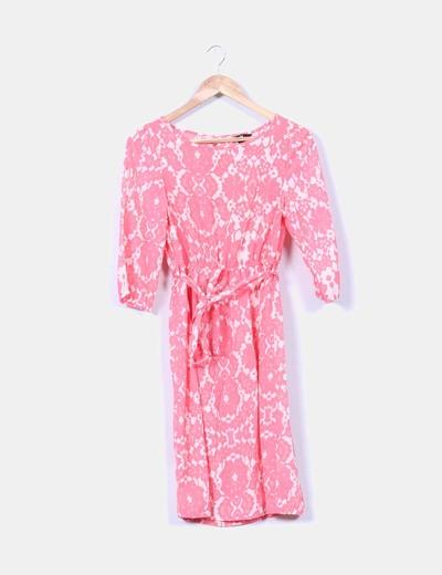 Vestido coral y beige estampado H&M