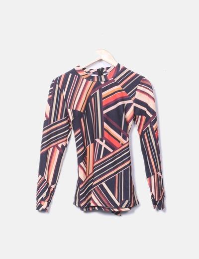 T-shirt rayé à manches longues couleurs NoName