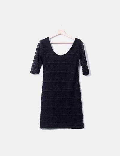 Vestido negro encaje Shana