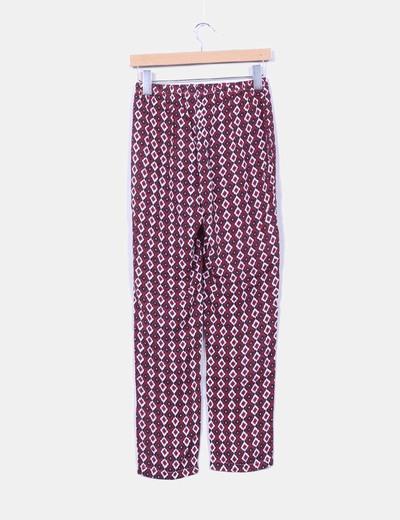 Pantalon fluido estampado etnico