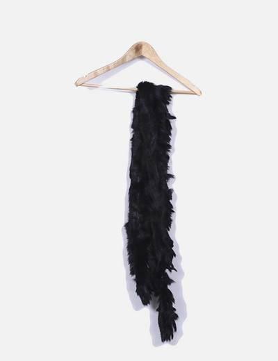 Écharpe noire à fourrure Zara