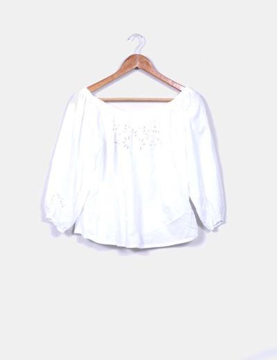 Blusa de manga francesa blanca calada Oysho