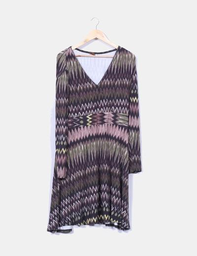 Vestido estampado zig-zag M&S