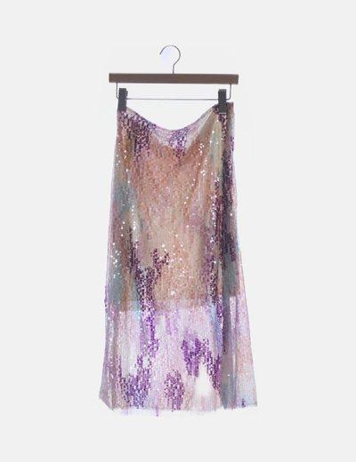 Falda de pailettes multicolor