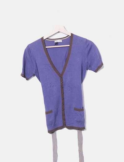 Camiseta tricot botones morado Hoss Intropia