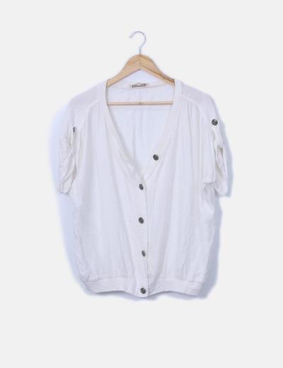 Camisa fluida blanca detalle botones