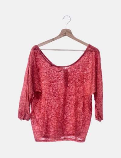 Camiseta tricot roja jaspeada