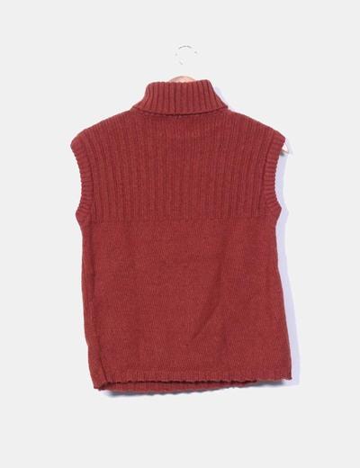 Jersey color teja de cuello sin mangas