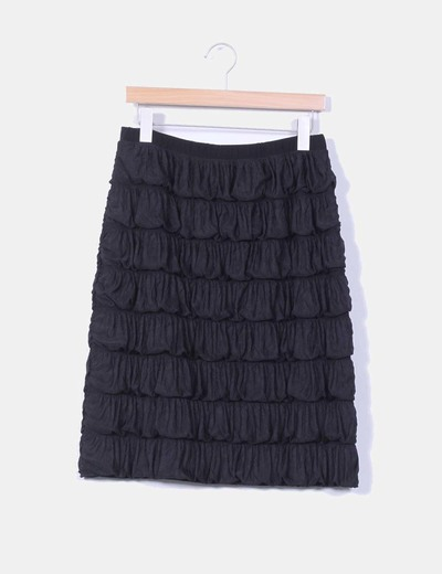 Falda midi negra drapeada NoName