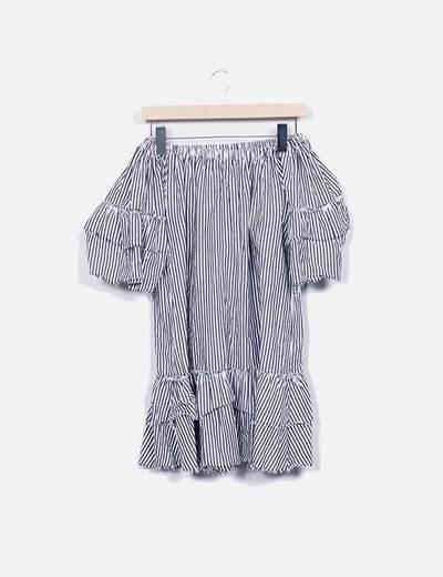 Vestido rayas gris con volantes Zara