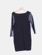 Vestido negro de punto con mangas de polipiel Zara