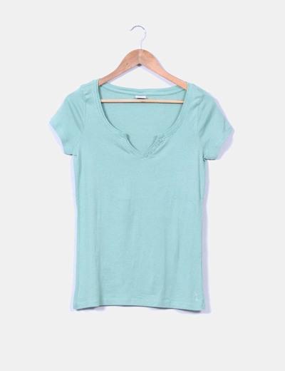 Camiseta verde mint manga corta Esprit