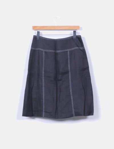 Falda midi godets negra