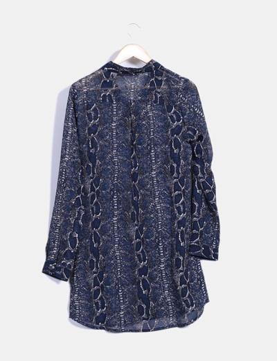 Vestido semitransparente azul y gris