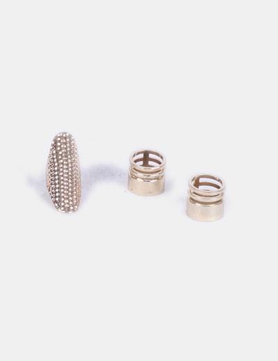 Conjunto de tres anillos dorados