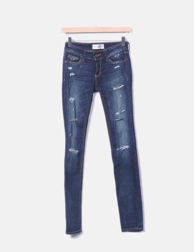 Denim trousers with rips Hollister
