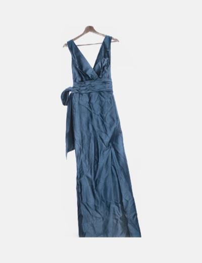 Vestido maxi azul irisado con lazada