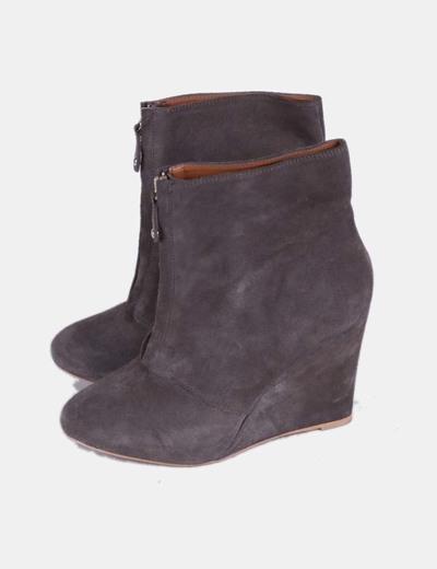 Botines ante gris con cremallera Zara