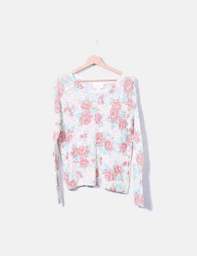 Pull beige floral Springfield