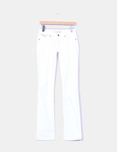 Jeans denim bootcut blanco tachas doradas Robin's Jean