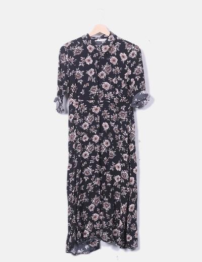 Maxi vestido camisero negro print floral