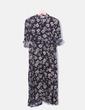 Maxi vestido camisero negro print floral Lefties
