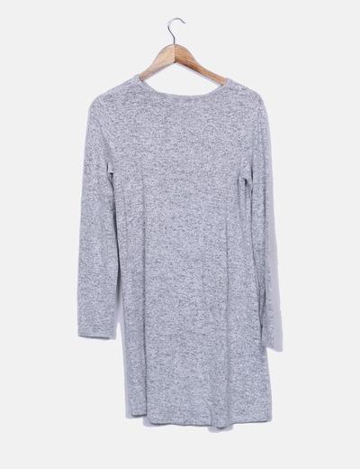 Vestido tricot gris manga larga