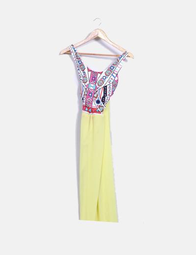 Vestido maxi amarillo con estampado multicolor NoName