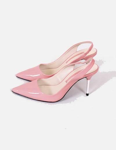 Tacon Piel Palo Campero bot铆n Zapatos Rosa c3q54ALRj