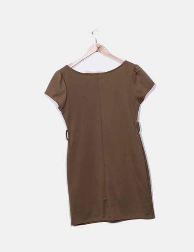 Vestido tricot marron manga corta