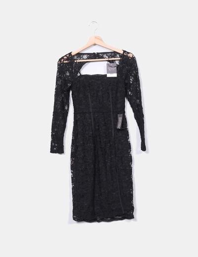 Robe noire en dentelle Topshop