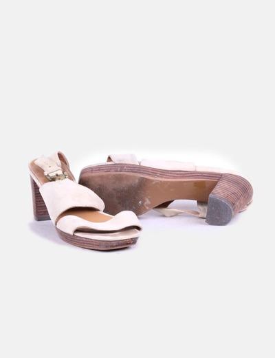 Sandalias de tacon beige