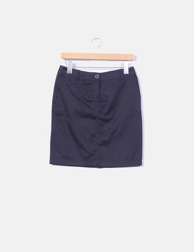 Falda básica azul marino Mango