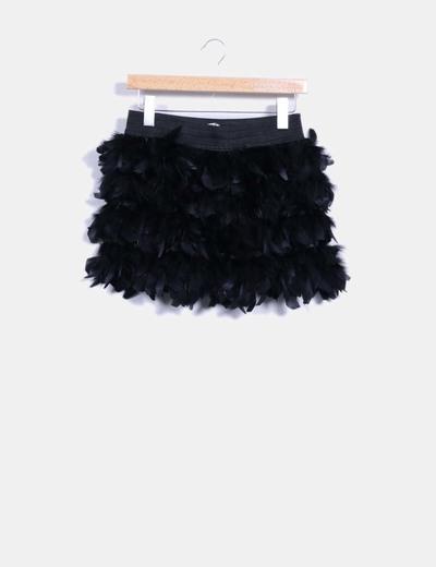 5b1c59270 Falda con plumas negra