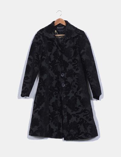 Abrigo negro combinado texturizado Desigual