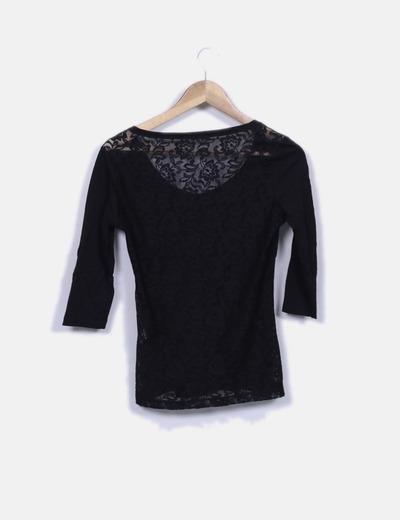 adecuado para hombres/mujeres comprar de calidad superior Blusa negra combinada con encaje