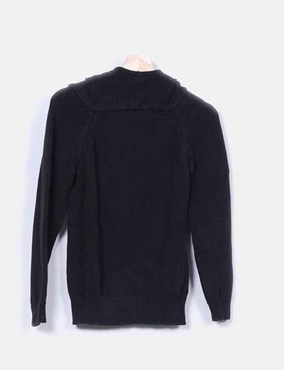 Sweat-shirt noir à capuche tricot Skunkfunk
