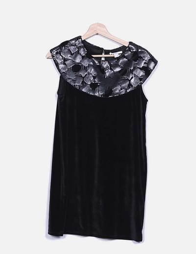 Vestido de veludo preto combinado Suiteblanco