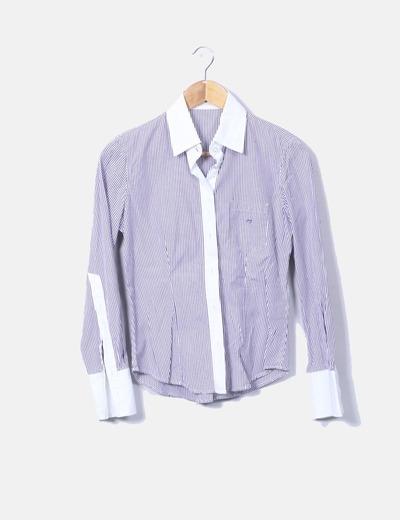 Camisa rayas blancas y moradas
