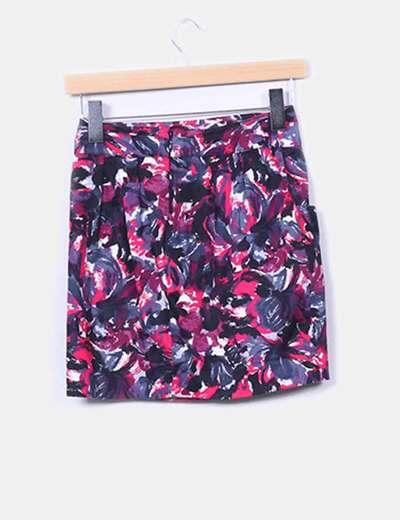 Falda estampado tonos rosas