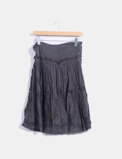 Falda midi kaki con strass Sfera