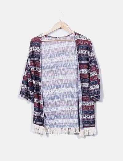 Gilet en tricot imprimé à franges Bershka