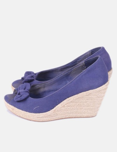 Sandalia azul marina cuña