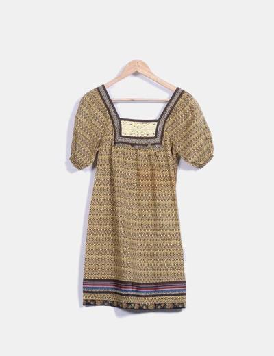 Vestido midi con estampado bicolor combinado Fashion House