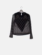 Blusa negra bordados multicolor Zara
