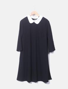 42e5f8c59 SheIn Vestido negro cuello blanco con perlas (descuento 68%) - Micolet